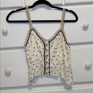 Cream Heart Free People Cropped Tank Top